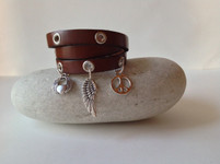 CEOriginals Triple wrap leather charm bracelet