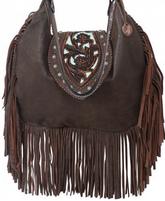 Double J Saddlery Brown Bomber Hobo Bag