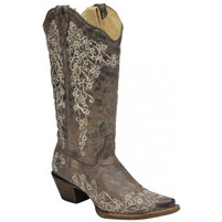 Women's Corral Brown Crater Bone Embroidery Western Boot