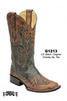 Women's Corral Antique Black with Cognac Overlay and Studs Square Toe Boot