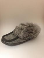 Women's Wakonsun Grey Wool and Rabbit Fur Moccasin