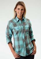 Women's Roper Turquoise Plaid Longsleeve