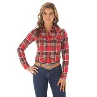 Women's Wrangler Red Brown Plaid Flannel Shirt
