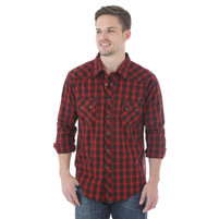 Men's Wrangler Red and Black Plaid Jean Shirt