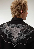 Men's Roper Black Western Shirt with Embroidered Steer Head