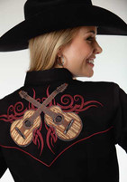 Women's Roper Black with Guitar Embroidery Western Shirt