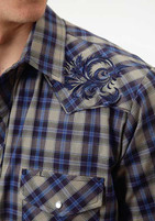 Men's Roper Grey and Blue Plaid with Embroidery Western Shirt