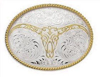 Montana Silversmiths Scrolled Bull Buckle