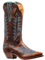Women's Boulet Brown with Turquoise Stitching Western Boot
