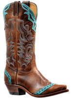 Women's Boulet Brown with Turquoise Detail Western Boot