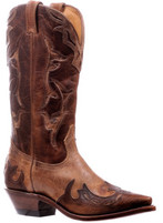 Women's Boulet Tan with Brown Overlay Western Boot