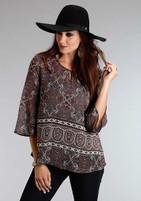 Women's Stetson Gypsy Border Chiffon Peasant Top