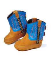 Old West Blue and Brown Kid's Cowboy Boots (Infant's sz 0-4)