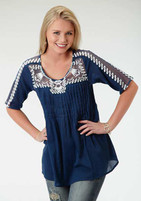 Women's Roper Blue Short Sleeved Peasant Top
