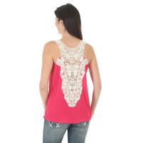 Women's Wrangler Pink Sleeveless Top with Crochet Back