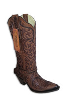 Women's Corral Brown Inlay with Studs and Harness Boot