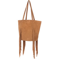 Brave Pixie Fringed Whiskey Suede Tote Bag