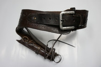 Dark Brown Tooled Leather