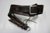 Dark Brown Tooled Leather