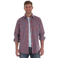 Men's Wrangler Wrinkle Resist Red and Blue Plaid Long Sleeve