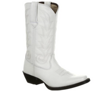 Women's Durango White Leather Narrowed Square Toe Boot