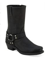 Women's Old West Black Harness Motorcycle Boot