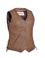 Women's Unik Leather Arizona Brown Vest
