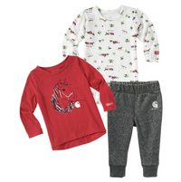 Carhartt Girls' Holiday 3-Piece Set Horses and Sleighs