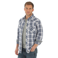 Men's Wrangler Blue and White Plaid Long Sleeve Shirt