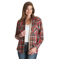 Women's Wrangler Red, Tan and Navy Sherpa Lined Flannel Plaid