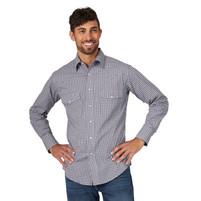 Men's Wrangler Grey and Navy Plaid Long Sleeve Shirt