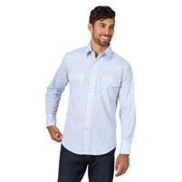 Men's Wrangler White and Blue Plaid Long Sleeve Shirt