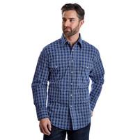 Men's Wrangler Wrinkle Resist Blue and Navy Plaid Long Sleeve Shirt