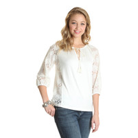 Women's Wrangler Tee with Lace Sleeves and Tie Front