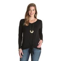 Women's Wrangler Black Long Sleeve Top with Tie Front