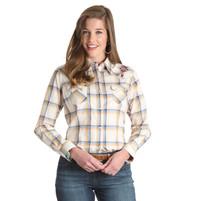 Women's Wrangler Ivory Yellow and Blue Plaid Shirt