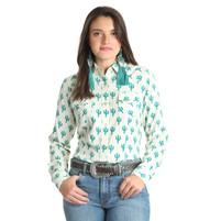 Women's Wrangler Ivory Cactus Long Sleeve Shirt