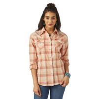 Women's Wrangler Peach Multi Plaid Long Sleeve Shirt