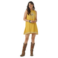 Women's Wrangler Mustard Dress With Embroidery