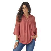 Women's Wrangler Dusty Cedar Pink Bell Sleeve Top