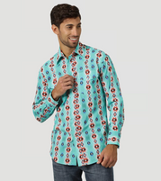 Men's Wrangler Checotah® Turquoise Long Sleeve Shirt