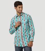 Men's Wrangler Checotah® Turquoise Long Sleeve Shirt