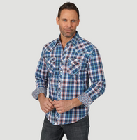 Men's Wrangler 20X Competition Advanced Comfort Navy/Coral Plaid