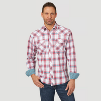 Men's Wrangler 20X Advanced Comfort Competition Red/Teal Plaid Short Sleeve Shirt