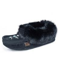 Women's Laurentian Chief Rabbit Fur Leather Sole Black