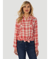 Women's Wrangler Retro Drapey Plaid Western Shirt