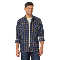Men's Wrangler Retro Blue Plaid Western Shirt