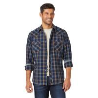 Men's Wrangler Retro Blue Plaid Western Shirt