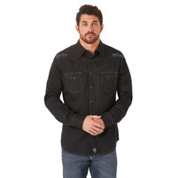 Men's Wrangler Rock 47 Black with Blue Embroidery Long Sleeve Shirt