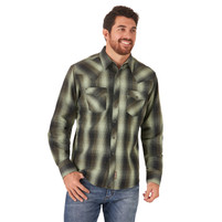 Men's Wrangler Retro Green Plaid Long Sleeve Shirt